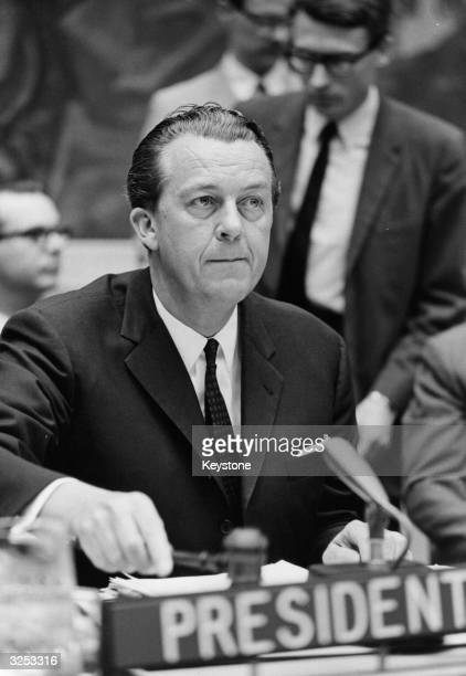 Hans Tabor of Denmark, President of the United Nations Security Council, calls the meeting to order during the continuing debate on the situation in...