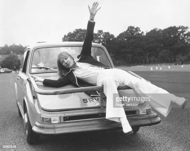 Model Hannele Ahovuori demonstrates the British Leyland developed Pedestrian Protection System at the Road Research Laboratory Crowthorne Parks...