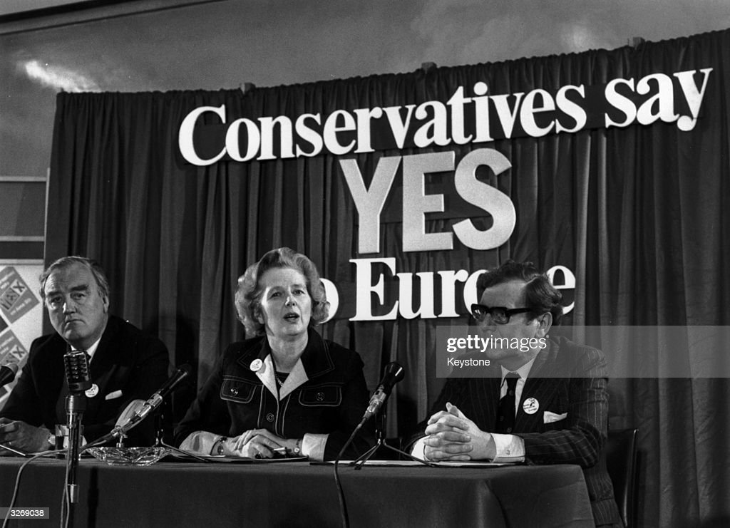 British conservative politician, Margaret Thatcher, with William Whitelaw and Peter Kirk at a referendum conference on Europe.
