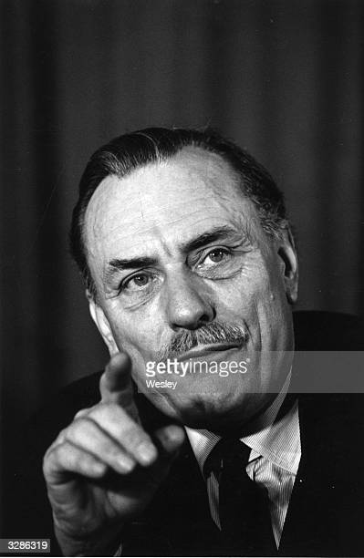 The British politician, Enoch Powell, speaking at the 'Safeguard Britain Campaign' press conference at the Waldorf Hotel, London.