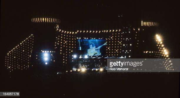 Wide angle view of the stage as The Rolling Stones perform during the Voodoo Lounge tour at the Olympia Stadium in Stockholm Sweden on 3rd June 1995