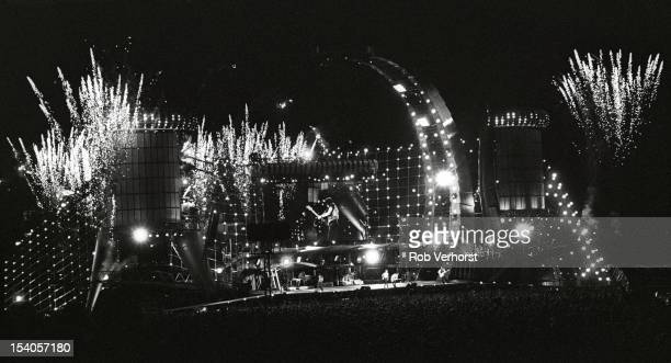 Wide angle view of the stage with fireworks as The Rolling Stones perform during the Voodoo Lounge tour at the Olympia Stadium in Stockholm Sweden on...