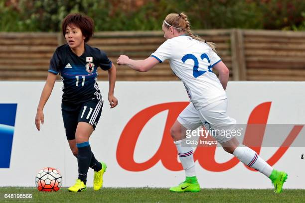 Mana Iwabuchi of Japan Women challenges Rakel Honnudottir of Iceland Women during the match between Japan v Iceland Women's Algarve Cup on March 3rd...
