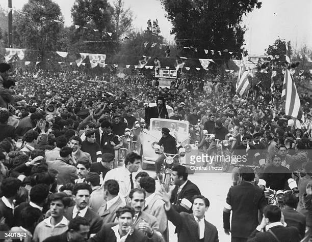 Cypriots at a rally for Cypriot Greek leader Orthodox archbishop of Cyprus and first President of Cyprus Makarios III