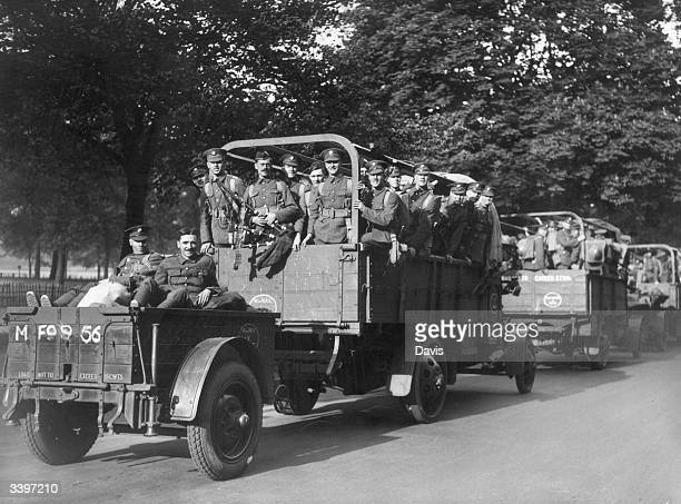 A convoy of Scots Guards troops arriving in Hyde Park in London during the General Strike called for by the Trades' Union Congress The General Strike...