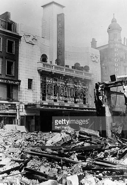 Bomb damage in London's Leicester Square caused by German air raids during the Blitz Original Publication Picture Post 713 The Morning After The...