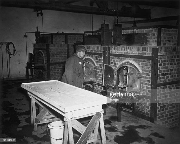 A member of the Congressional Party investigating atrocities in Germany inspects one of the incinerators used to burn bodies in the Dachau Prison Camp