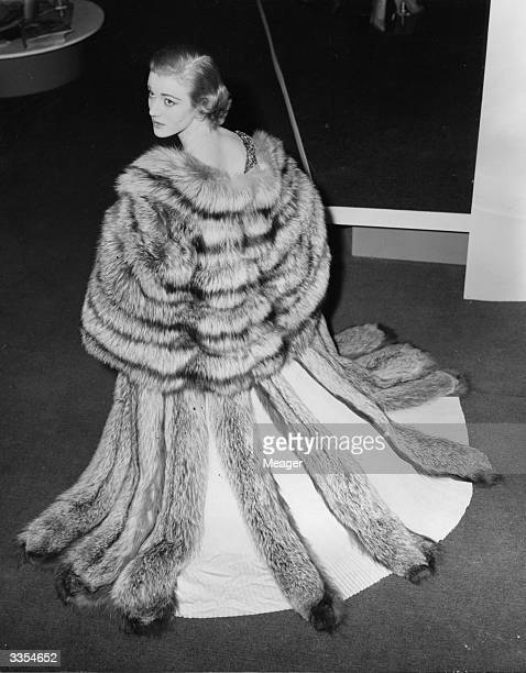 Sheila Symonds wearing a cape of Canadian Pearl Platinum mink fur at the British Industries Fair in London