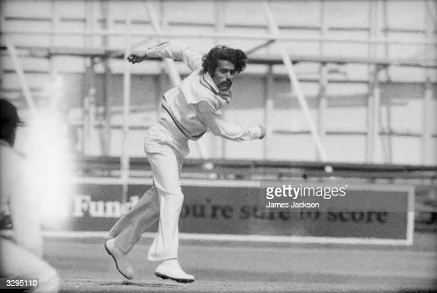 Indian bowler Bhagwat Subramaniam Chandrasekhar in action