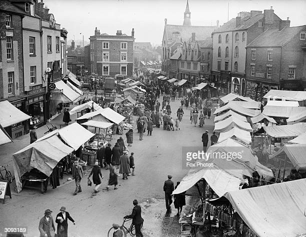Covered stalls set up in Banbury Market Oxfordshire