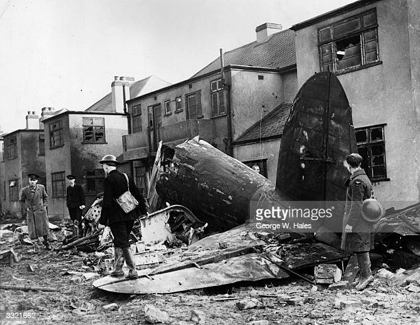 The wreckage of a German bomber brought down over Hornchurch Essex