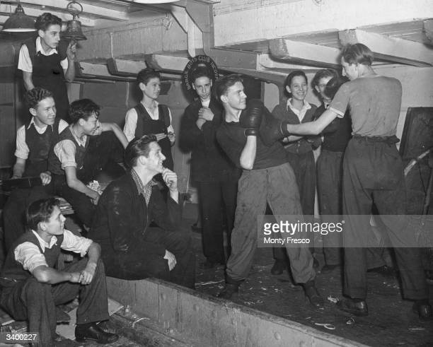 Members of the Barge Boys Club at Wapping East London partaking in a spot of boxing at their youth club in a converted barge
