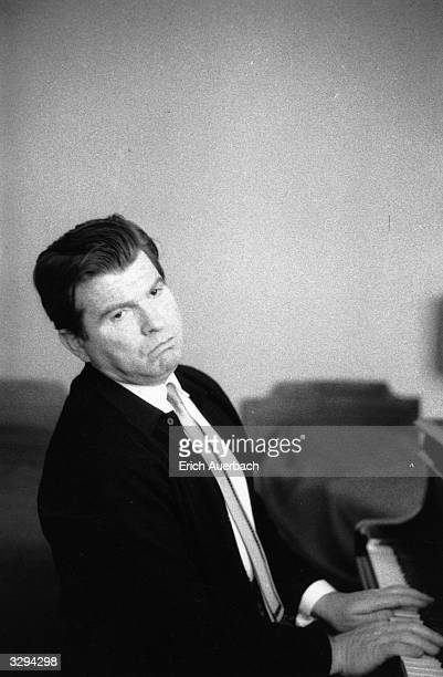Russian pianist Emil Gilels at the keyboard