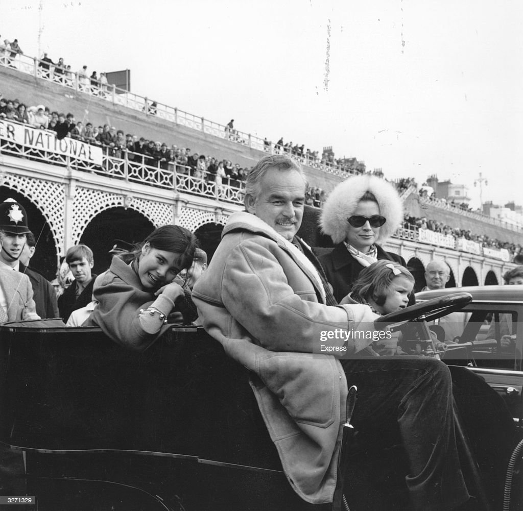 Prince Rainier with his wife Princess Grace and daughters Caroline and Stephanie, take part in the Brighton Rally.