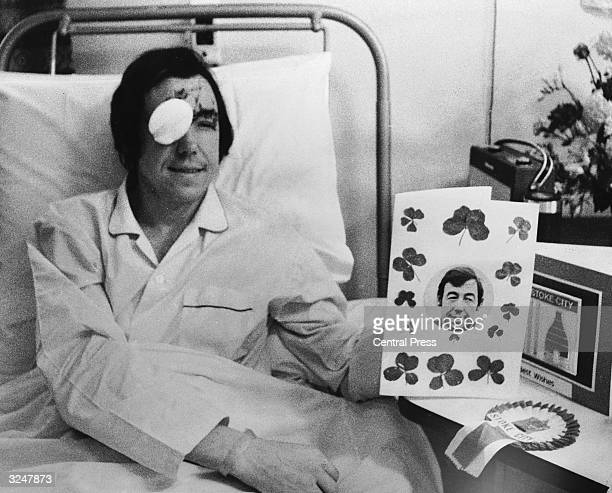 Stoke City and England goalkeeper Gordon Banks recuperates at the North Staffordshire Infirmary StokeonTrent following a car crash which cost him the...