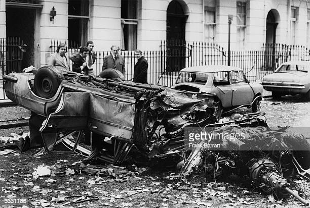The wrecked car of barrister Richard Charnley after a terrorist car bomb explosion in Connaught Square Bayswater London Mr Charnley escaped with leg...