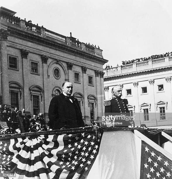 US president William McKinley and Admiral George Dewey review the troops from the podium during the Presentation of the Nation's Sword to Dewey...