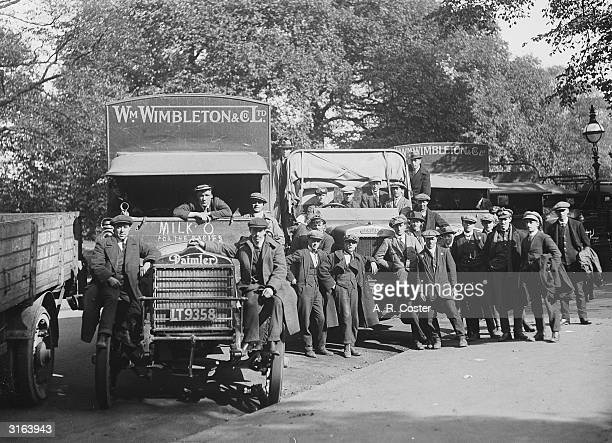 Daimler and Leyland lorries which are being used for deliveries during the railway strike