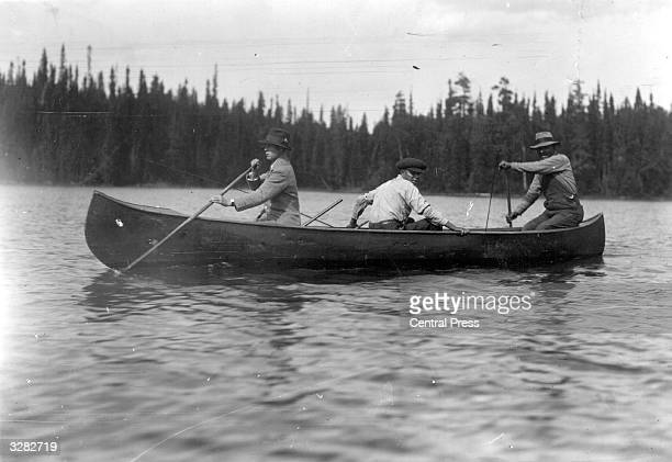 The Duke of Windsor as Edward Prince of Wales canoes on the River Nipigon in Canada during his royal tour He ascended the throne as King Edward VIII...