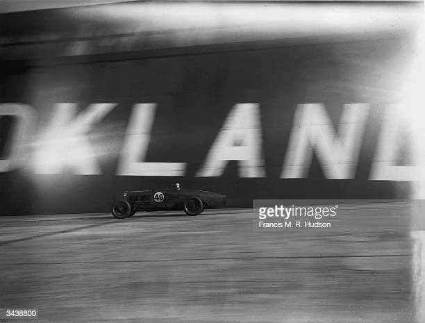 Jack Dunfee crossing the finish line in his Bentley during the 500 miles race at Brooklands
