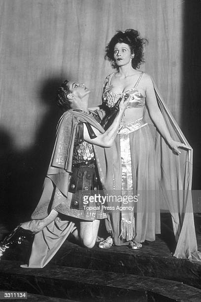 Joan Maude and Robert Donat in a scene from the production of the Oscar Wilde play 'Salome' at the Savoy Theatre London It is being presented for the...