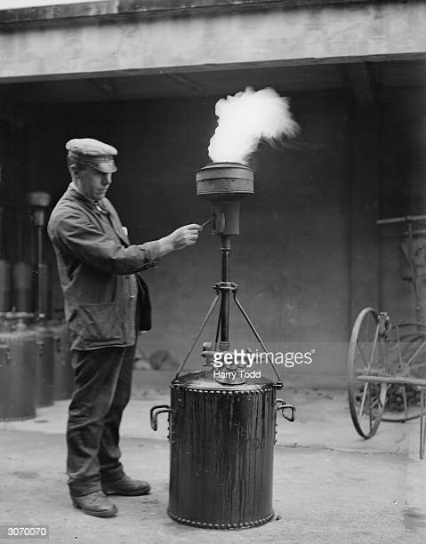 A fog flare being tested at the Highways Department depot in Gatliffe Road London