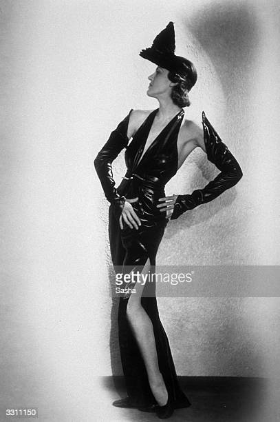 Emma Trechman wearing a fetishistic outfit for her part in 'Streamline Revue' at the Palace Theatre