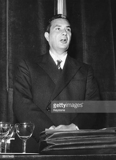 Italian statesman Aldo Moro first secretary of Italy's Christian Democratic Party makes an appeal to safeguard the unity of his party at the Gonzaga...