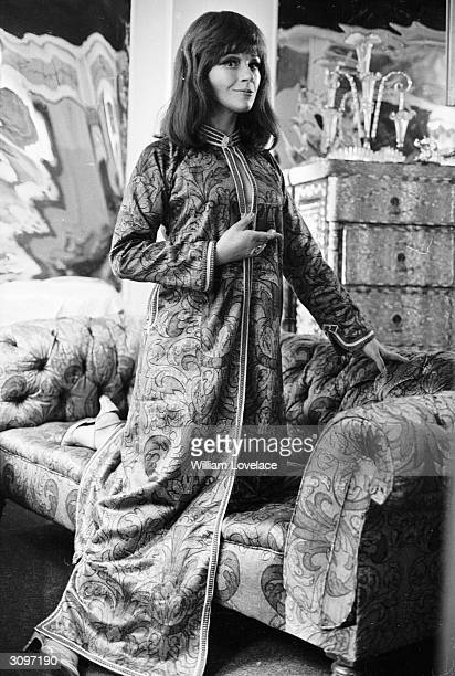 English actress Fenella Fielding wearing a kaftan by Thea Porter As well as starring in Carry On Screaming she was the voice of the tannoy in the...