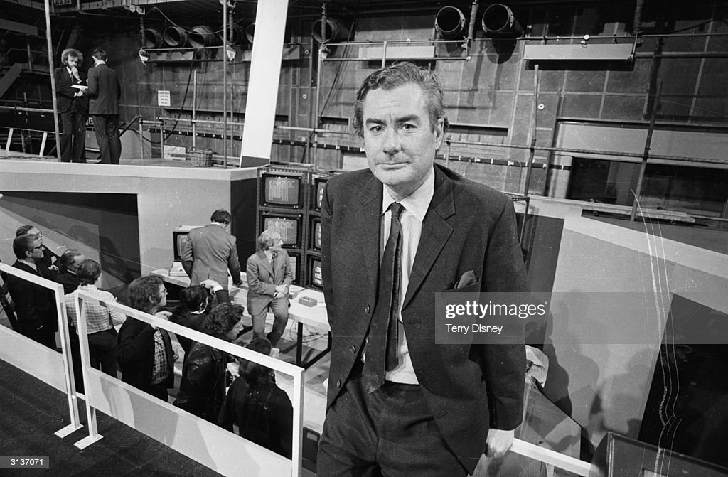 Television presenter Alastair Burnet prepares to cover the election for the BBC.