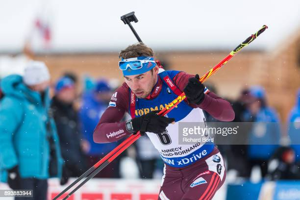 3rd place Anton Shipulin of Russia competes during the IBU Biathlon World Cup Men's Pursuit on December 16 2017 in Le Grand Bornand France