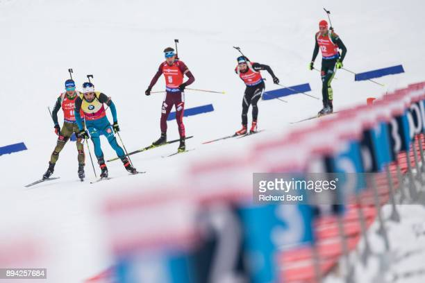 3rd place Erik Lesser of Germany 1st place Martin Fourcade of France 4th place Anton Shipulin of Russia 5th place Benjamin Weger of Switzerland and...