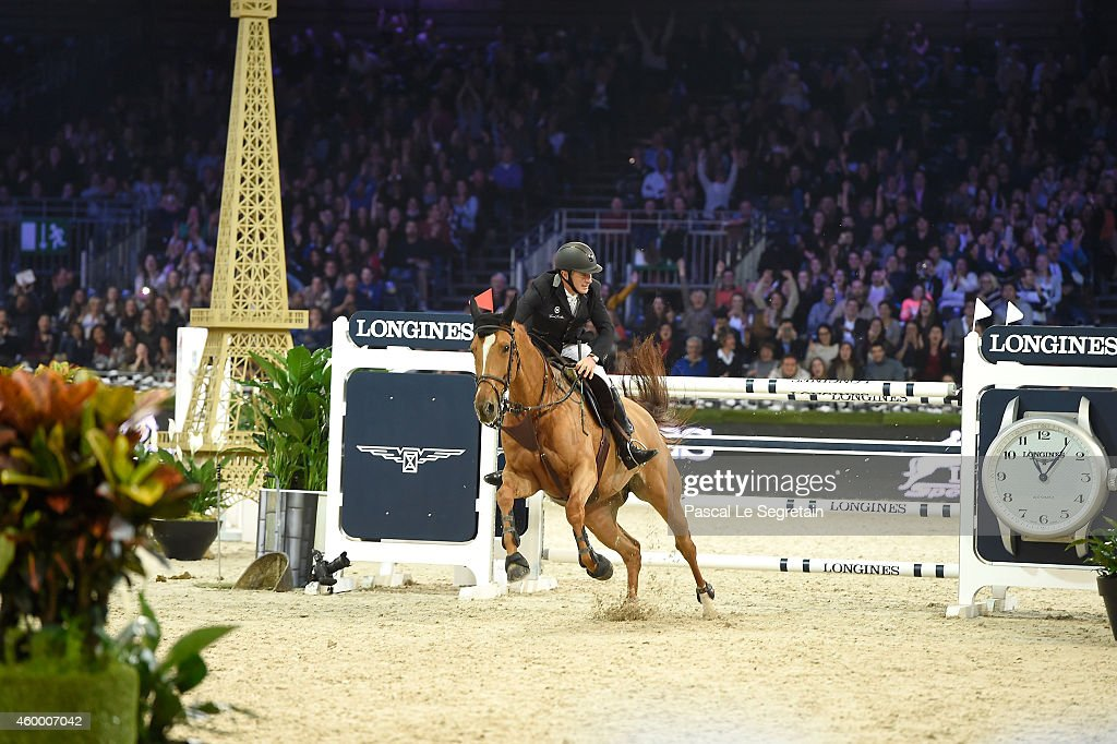 3rd place finisher Roger-Yves Bost from France rides Sydney Une Prince at the Longines Speed Challenge Prix class as part of the Gucci Paris Masters 2014 on December 5, 2014 in Villepinte, France.