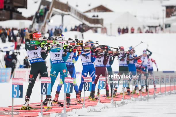3rd place Laura Dahlmeier of Germany shoots during the IBU Biathlon World Cup Women's Mass Start on December 17, 2017 in Le Grand Bornand, France.