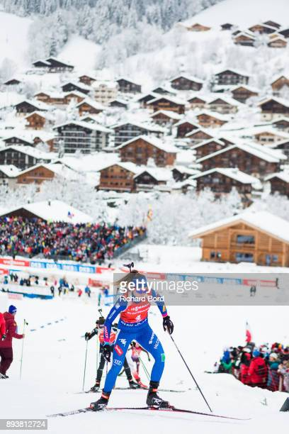 3rd place Lisa Vittozzi of Italy competes during the IBU Biathlon World Cup Women's Pursuit on December 16, 2017 in Le Grand Bornand, France.