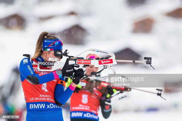 3rd place Lisa Vittozzi of Italy shoots during the IBU Biathlon World Cup Women's Pursuit on December 16, 2017 in Le Grand Bornand, France.