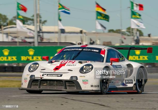 3rd Place Winner GT Le Mans Porsche GT Team driver Earl Bamber Laurens Vanthoor Mathieu Jaminet of Porsche 911 RSR19 during the Rolex 24 IMSA Race on...