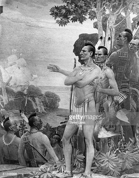 3rd September 1609 Henry Hudson Explores the Hudson River 1609' by Stahr showing Indians watching the 'Half Moon' entering the bay of New York
