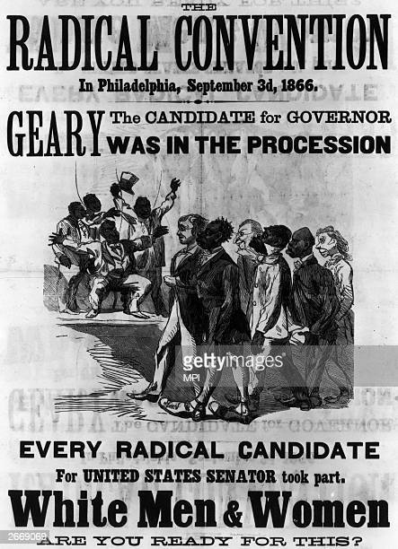 A poster attacking the radical Republican politician John White Geary for his support of black suffrage