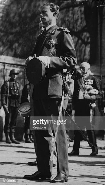 King Leopold III of Belgium photographed in Brussels during the funeral of his wife Queen Astrid She had been killed in a car crash a few days earlier