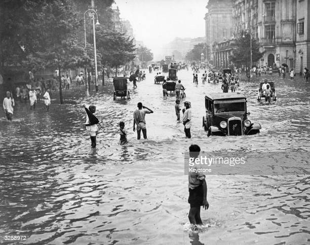 The streets of Calcutta were turned into rivers after rains in the monsoon season were heavier than usual