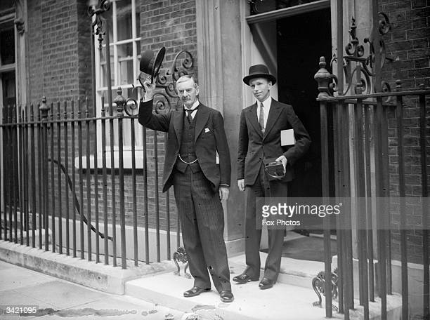 Conservative Prime Minister Neville Chamberlain outside ten Downing Street, London on the day war was declared, with him is Alec Douglas-Home who...