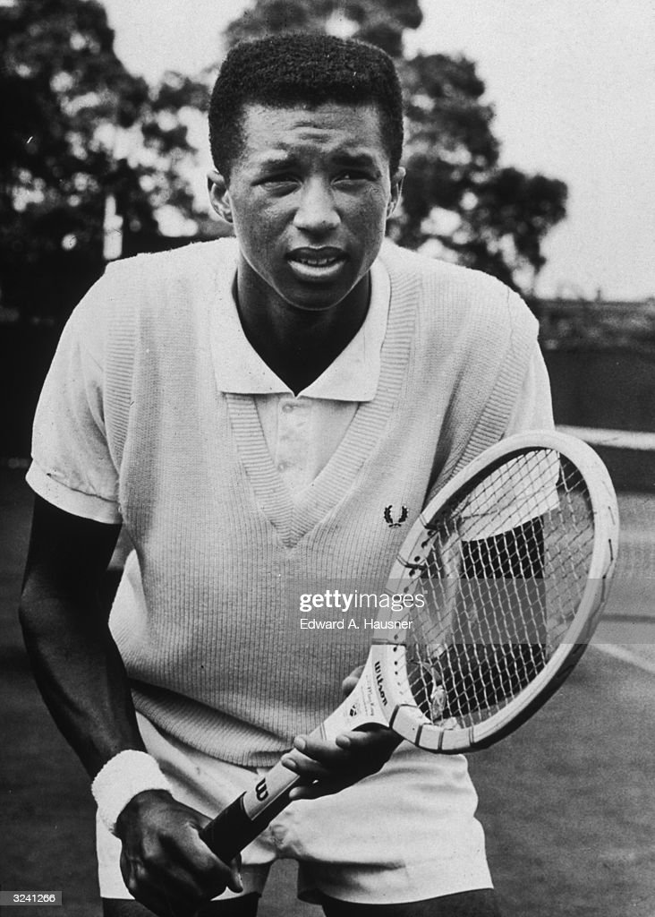 American tennis player Arthur Ashe prepares for a return shot during a match in Forest Hills, New York.