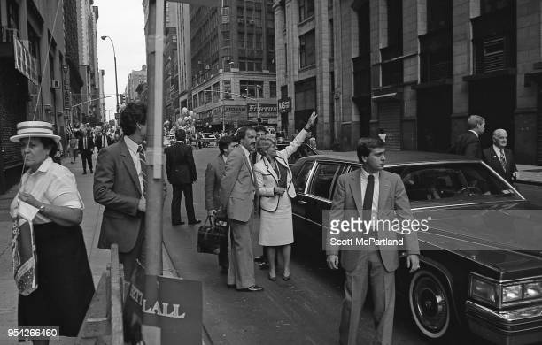 New York City Geraldine Ferraro exits her vehicle and waves to her supporters during the 1984 Presidential race