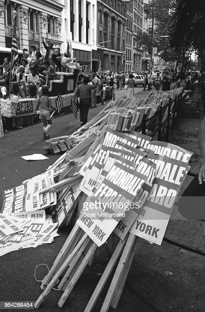 New York City Mondale/Ferraro signs line the streets at a rally during the 1984 Presidential race