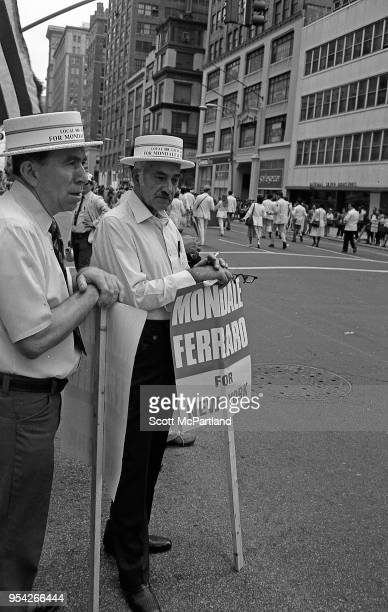 New York City Supporters of Walter Mondale and Geraldine Ferraro attend a rally in downtown Manhattan