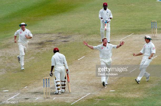 3rd TEST 3rd DAY AT THE KENSINGTON OVAL BRIDGETOWN BARBADOS ENGLAND V WEST INDIES 3/4/2004 MATTHEW HOGGARD AFTER TAKING THE WICKET OF SHIVNARINE...