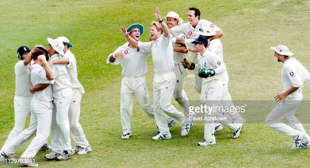 3rd TEST 3rd DAY AT THE KENSINGTON OVAL BRIDGETOWN BARBADOS ENGLAND V WEST INDIES 3/4/2004 HOGGARD AFTER TAKING THE WICKET OF HINDS THE 3RD OF HIS...