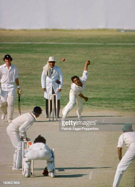 3rd Test Pakistan v England Karachi January 197778 Abdul Qadir bowls to Bob Taylor Graham Roope backs up