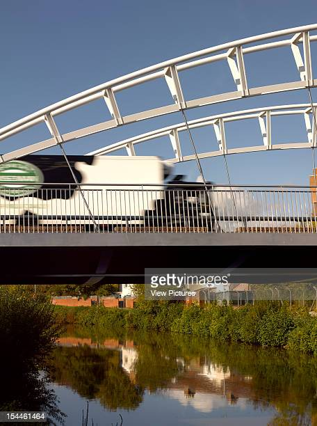 3Rd Way Bridge Taunton Moxon Architects2011View From River Below With Passing Truck Moxon Architects United Kingdom Architect
